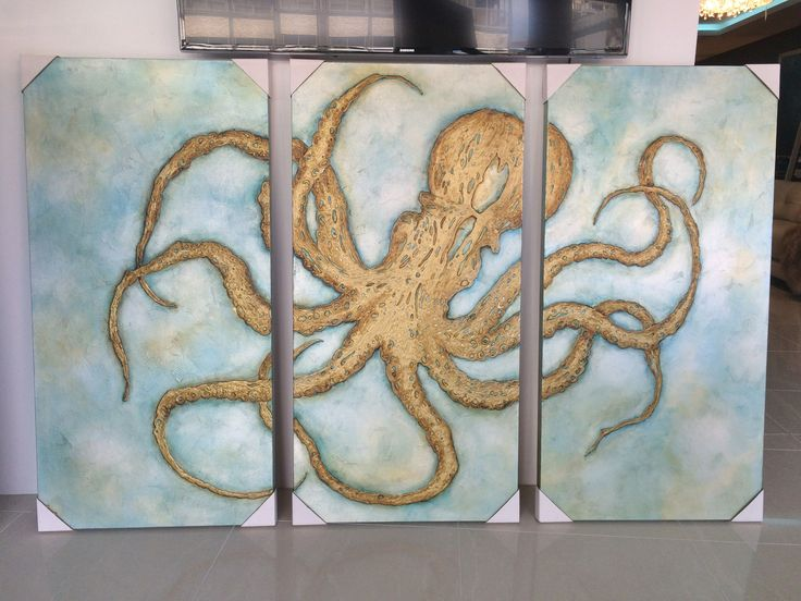 3 x Octopus! hand painted in America see all our exclusive paitings and wall sculptures at www.sovereigninteriors.com.au