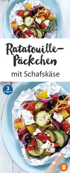 Ratatouille-Päckchen mit Schafskäse, Gemüse, Grill, Barbecue | Weight Watchers