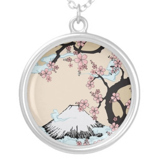 Fuji and Sakura - Japanese Design Necklace