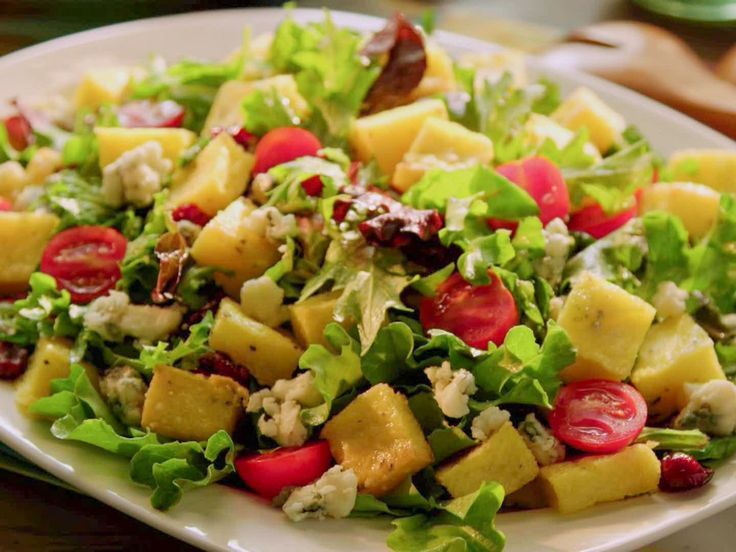 Greens with Polenta Croutons recipe from Valerie Bertinelli via Food Network