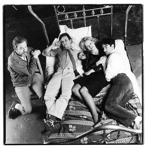 Meryl Streep, Kevin Kline and Peter MacNicol with director Alan J. Pakula on the set of Sophie's Choice, 1982.