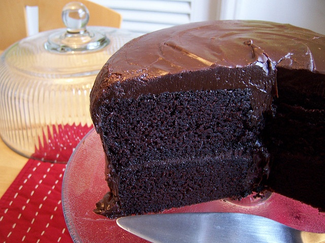 The most AMAZING buttermilk chocolate cake EVER ~packs a punch with 1 1/2 cups freshly brewed, extra-strong hot coffee* #darkchocolatecoffeecake
