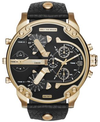Spectacular style and fantastic features combine to create the Mr. Daddy 2.0 timepiece by Diesel. | Black leather strap | Rounded gold-tone stainless steel case, 57x66mm | Black chronograph dial with