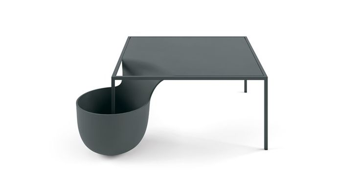 Rectangular coffee table with storage space FLOW BOWL - 10H by Alias
