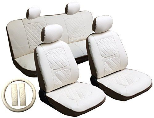 13 Piece Luxury Diamond Stitch Pattern Leatherette Jeep White Seat Cover Set - 2 Front Seats, Rear Bench, Steering Wheel Cover, Seat Belt Pads, http://www.amazon.com/dp/B00SI9U1XQ/ref=cm_sw_r_pi_awdm_XxBkxb1YZ8503