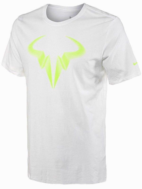 155c725ff8b8 Nike Rafael Nadal Bull Logo Icon Rafa Tennis Shirt Mens L White Volt 698234  100  Nike