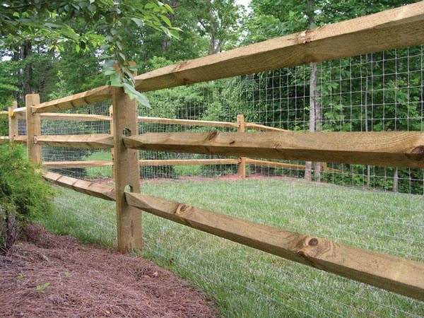 Split Rail Fence With Mesh (I'd use wire. Still attractive but a great puppy barrier!)