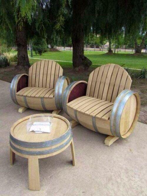 Oak Barrels into a Sweet Lounge Set