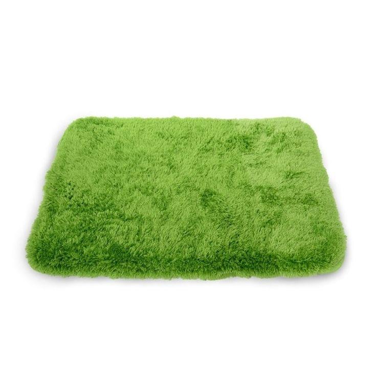 Ozdobne zielone przyjemne w dotyku dywaniki do łazienki 50x70