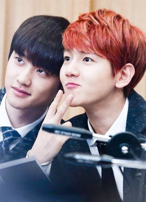 """For some reason it looks like Baekhyun is trying to make his eyes bigger while D.O.'s just like """"there's no point"""" xD"""