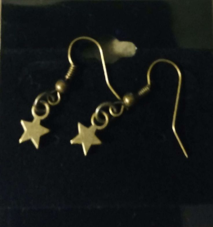 Bronze star handmade earrings with bronze earring hook by SpryHandcrafted on Etsy