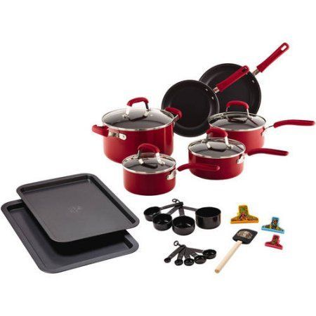 Guy Fieri 25-Piece Nonstick Aluminum Cookware Set, Red