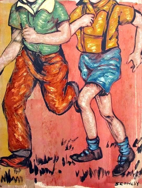 """DAVID BROMLEY Children Series """"Running Home"""" Polymer on Canvas 120cm x 90cm"""