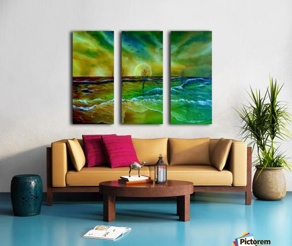 coastal, theme, decor, ideas, waves, sunset, seascape, sky, trees, nature, landscape, fantasy, impresseive, colorful, green, golden, blue, for sale, art, oil painting, artwork, painting, fine art, Canvas Print