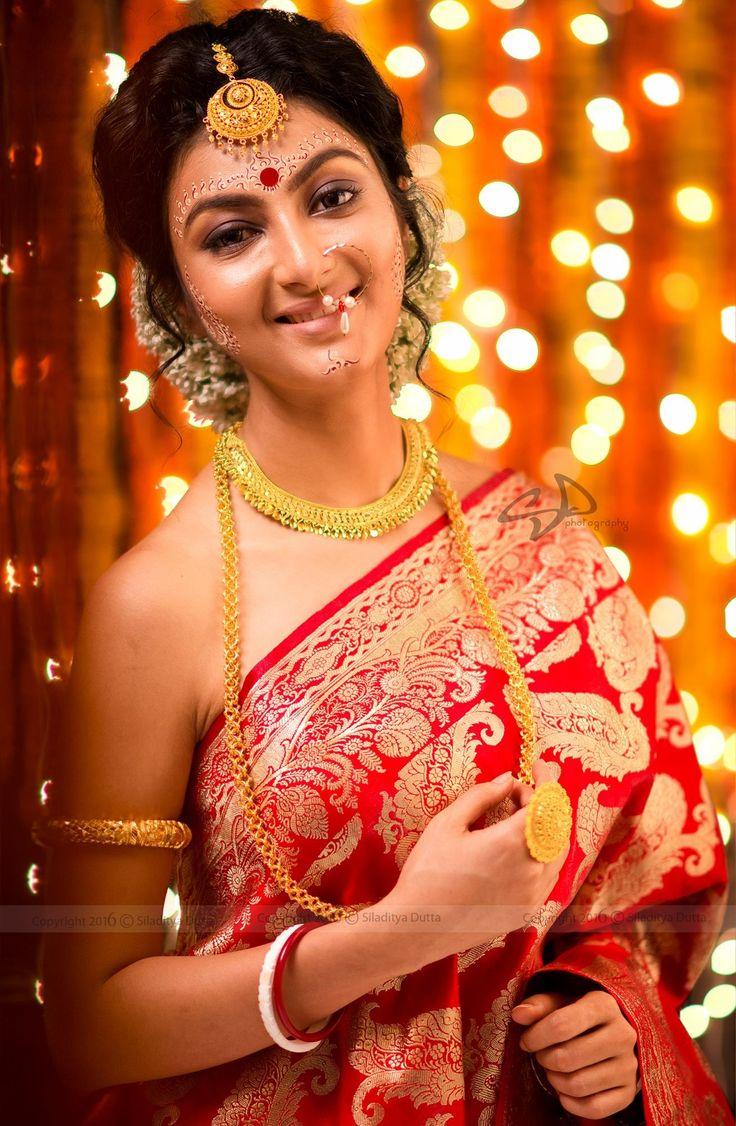 Bengali bridal gold jewellery - I Love Natural Beauty And I Think It S Your Best Look But I Think Bengali Sareebengali Bridebengali