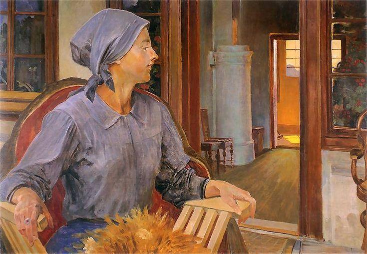 Jacek Malczewski - We dworze, portret córki artysty, Julii, 1920