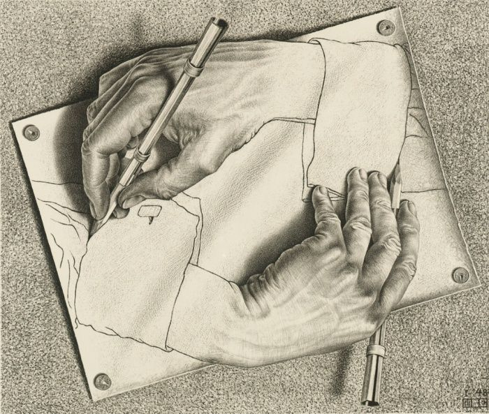Drawing Hands, 1948, Lithograph