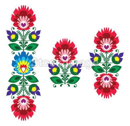 Broderie folklorique - motif floral polonais traditionnels