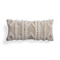Boho Ivory Fringe Rectangular Pillow