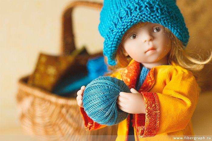 Käthe Kruse&Sylvia Natterer- Minouche Gala: blue beanie hat. #Minouche #Kaite Kruse #doll #handmade #knit #hat