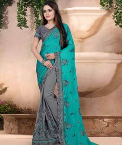 Buy Aqua Faux Georgette Half and Half Saree 76096 with blouse online at lowest price from vast collection of sarees at Indianclothstore.com.