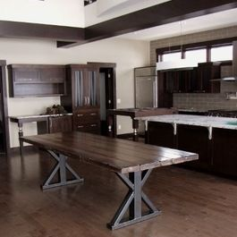 custom modern rustic table with steel and barn wood dun4me is the marketplace for custom - Metal Kitchen Table