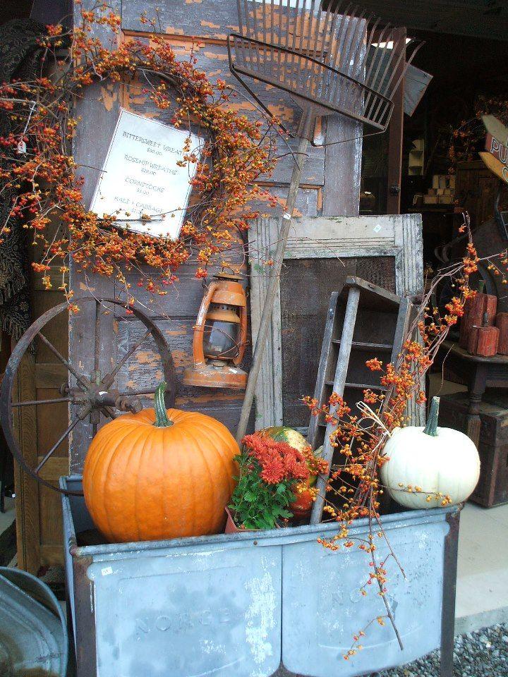 Vintage Galvanized Wash Tub Autumn Display With Rake, Window, Lantern, Iron Wheel, Wreath, and Pumpkins