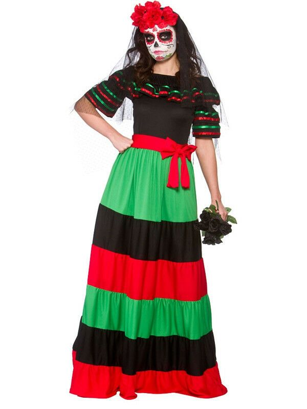 Adults Womens Mexican Day Of The Dead Veil /& Roses Headband Fancy Dress Senorita