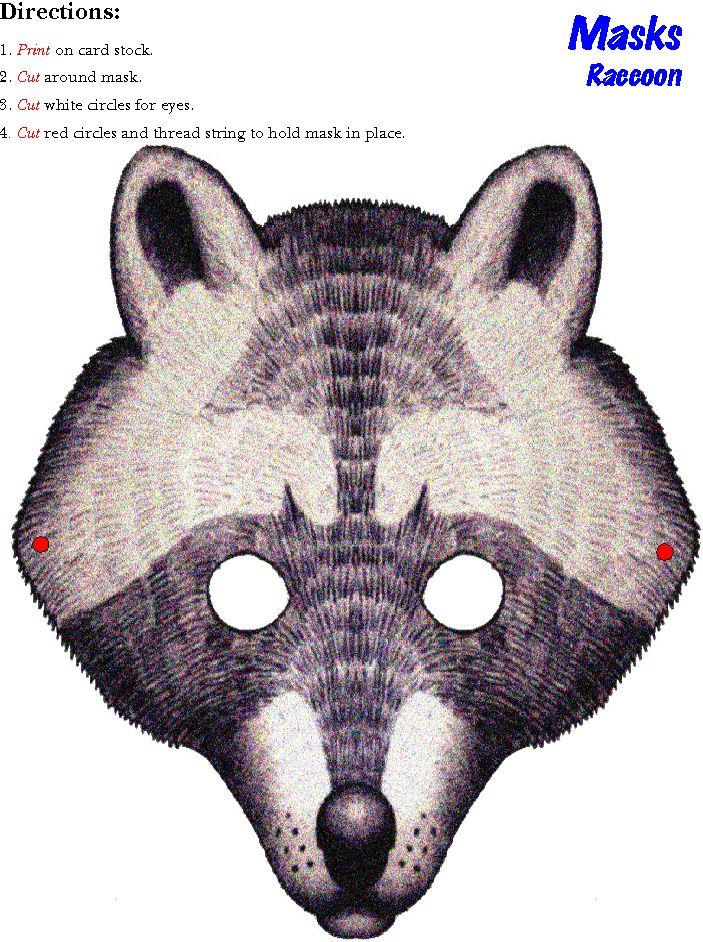 From Preschoolkids.net, a raccoon mask to print on cardstock for the kids to wear