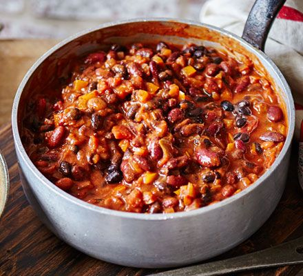 This warming vegetarian chilli is a low-fat, healthy option that packs in the veggies and flavour. Serve with Tabasco sauce, soured cream or yogurt