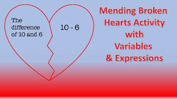Formative assessments variables and expression mend broken hearts