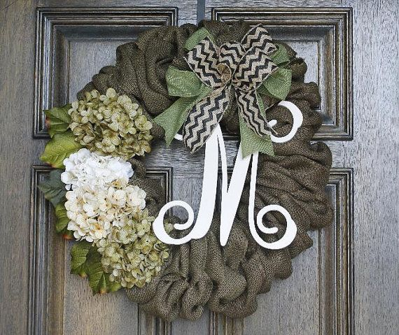 Burlap Wreath Monogram Wreath Chevron Wreath Year Round