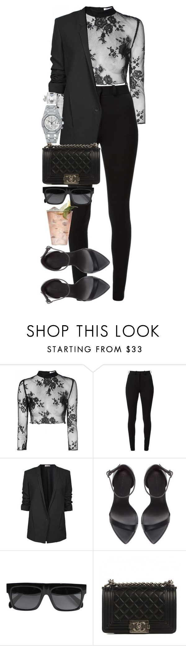 """""""Stupid men are the only ones worth knowing after all."""" by quiche ❤ liked on Polyvore featuring Glamorous, Victoria Beckham, Helmut Lang, Zara, Audemars Piguet, Margarita, CÉLINE and Chanel"""