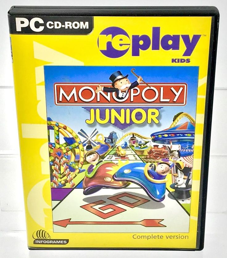 Monopoly Junior Complete Version Pc Cd Rom Replay Kids Children's Family Games