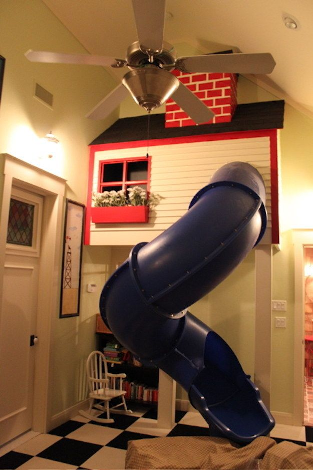 INDOOR PLAYHOUSE WITH SLIDE....17 Home Remodelling Ideas For Your Kids
