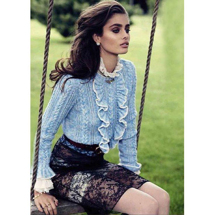 Синий оборками спереди длинные flare рукава пуловер свитер синий и бежевый цвет моды осенью и зимой свитер 719 купить на AliExpress