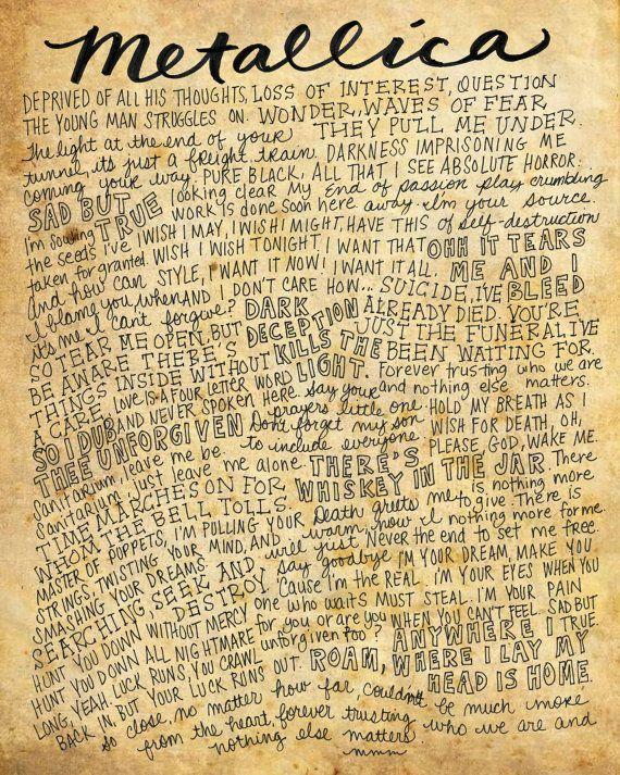 Metallica Lyrics and Quotes  8x10 handdrawn and by mollymattin