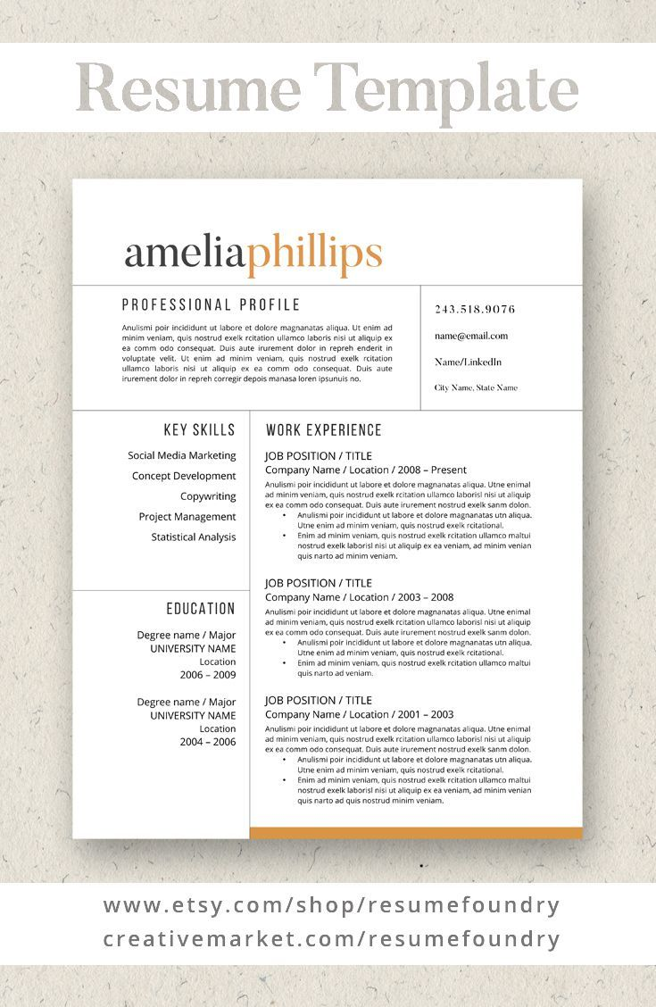 Best Selling Resume Template Guaranteed To Help You Stand Out Instant Download Use With Microsoft Word Resume Writing Examples Resume Resume Template