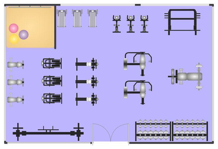 Gym layout plan, window, casement, weight bench, wall, vending - fresh gym blueprint maker