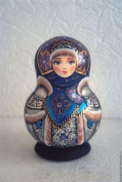 Matryoshka handmade.  Fair Masters - handmade.  Buy Suiting winter nesting doll.  Handmade.  Blue, custom, hand-painted