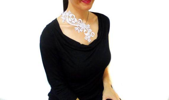White lace wedding dress necklace Xmas Asymmetric by HAREMDESIGN