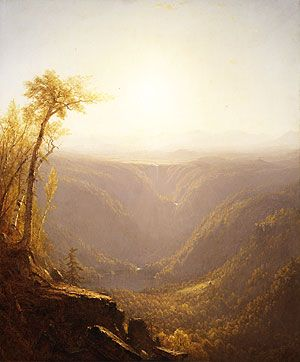 """Gifford Sanford Robinson, """"A Gorge in the Mountains.""""  One of the leading members of the Hudson River School. Gifford's landscapes are known for their emphasis on light and soft atmospheric effects, and he is regarded as a practitioner of Luminism, an offshoot style of the Hudson River School."""