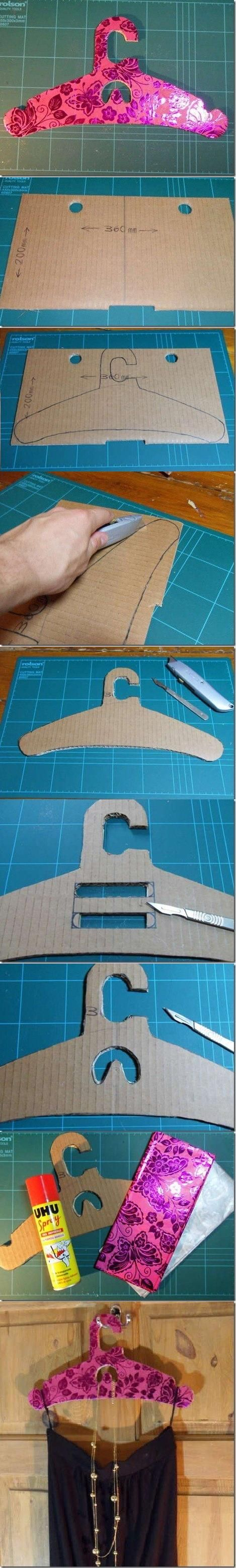 Percha de cartón, paso a paso   -   DIY Cardboard Dress Hanger                                                                                                                                                      Más
