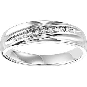 Forever Bride 1/10 Carat T.W. Sterling Silver Mens Comfort Feel Diamond Ring
