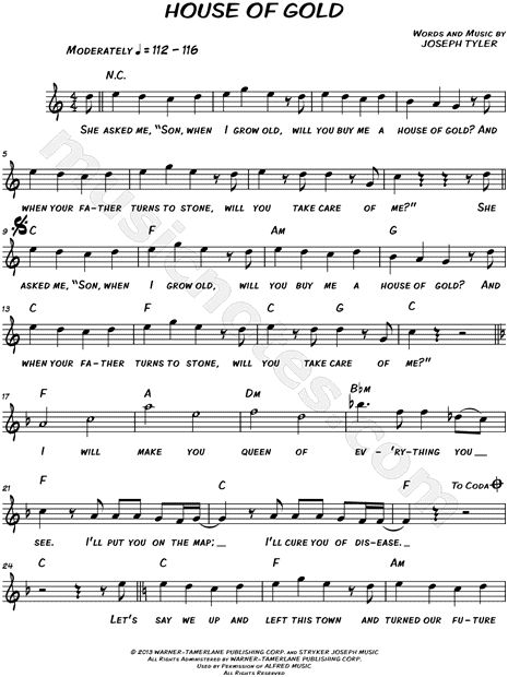 Twenty One Pilots u0026quot;House of Goldu0026quot; Sheet Music (Leadsheet) in C Major - Download u0026 Print ...