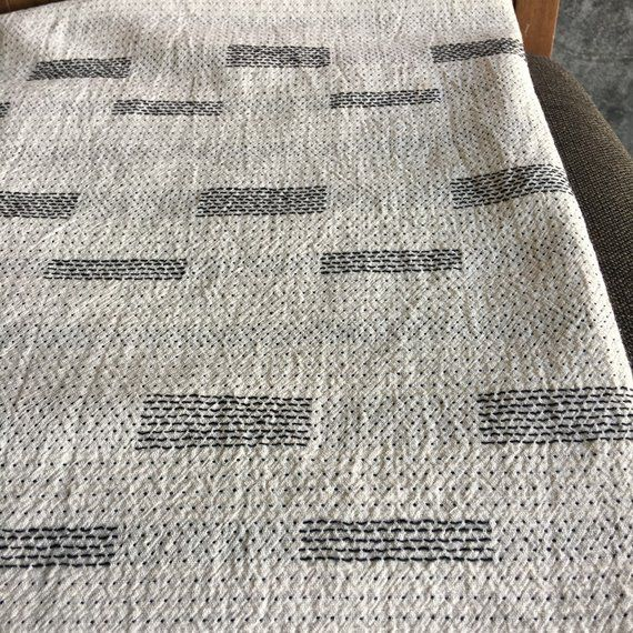 cotton woven soft cotton and  slight pattern sell by the yards The Chiangmai native cotton fabric cotton grey blue shade and white