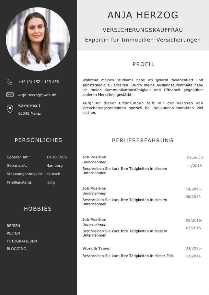 Cv Profil In Carbon Farben Eine Perfekte Lebenslaufvorlage Fur Viel Berufserfahrung Highligh Perfekter Lebenslauf Bewerbung Lebenslauf Vorlage Bewerbung Foto