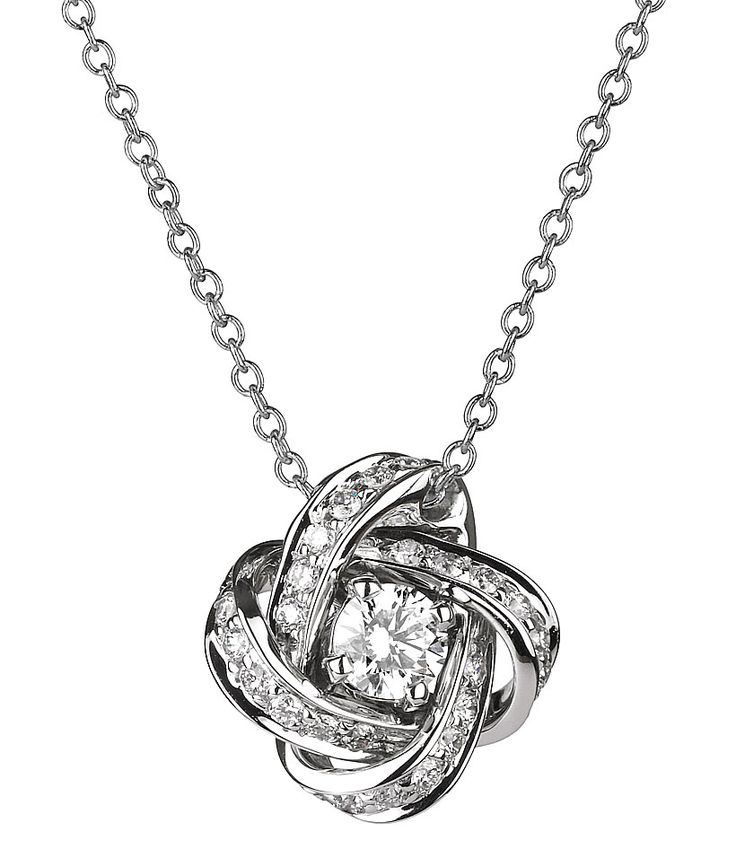 Matching knot designed diamond necklace www.finditforweddings.com