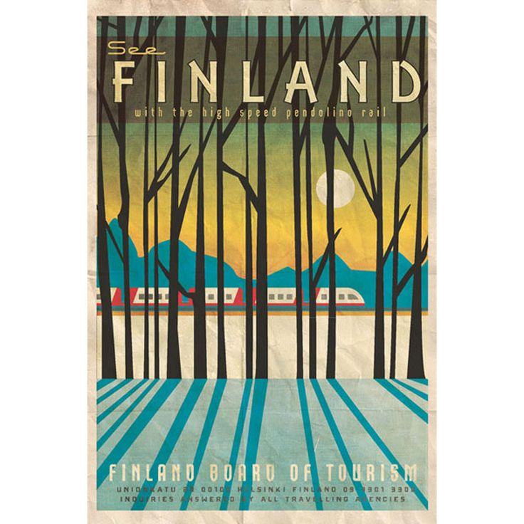 Missy Ames Vintage Travel Poster - Finland