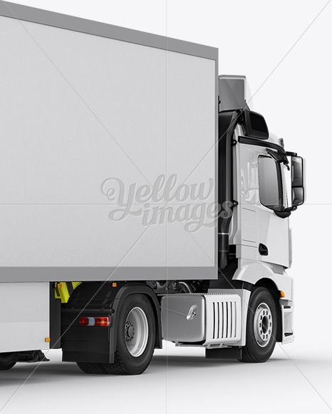 Refrigerator Truck HQ Mockup Back Half Side View